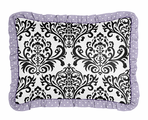 Standard Pillow Sham for Lavender, Purple, Black and White Sloane Bedding by Sweet Jojo Designs - Click to enlarge
