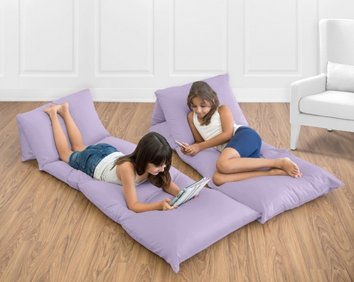 Lavender Purple Kids Teen Floor Pillow Case Lounger Cushion Cover by Sweet Jojo Designs - Click to enlarge