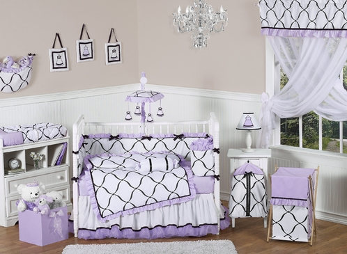Purple, Black and White Princess Baby Bedding - 9 pc Crib Set - Click to enlarge