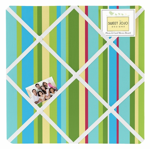 Layla Turquoise Lime Floral Fabric Memory/Memo Photo Bulletin Board by Sweet Jojo Designs - Click to enlarge