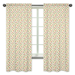 Leaf Print Window Treatment Panels for Forest Friends Collection by Sweet Jojo Designs - Set of 2