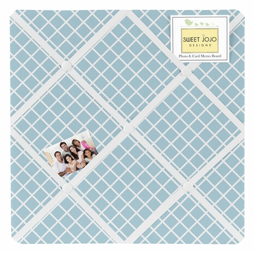 Light Blue Lattice Fabric Memory/Memo Photo Bulletin Board for Woodland Animal Toile Sets - Click to enlarge