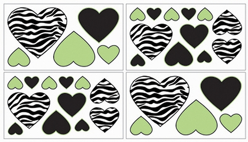 Lime Funky Zebra Baby, Kids and Teens Wall Decal Stickers - Set of 4 Sheets - Click to enlarge