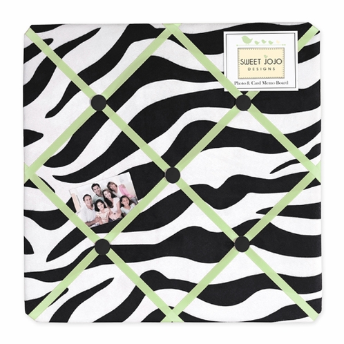 Lime Funky Zebra Fabric Memory/Memo Photo Bulletin Board - Click to enlarge