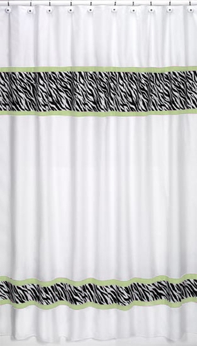 Lime Funky Zebra Kids Bathroom Fabric Bath Shower Curtain - Click to enlarge