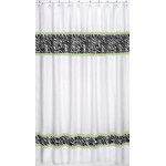 Lime Funky Zebra Kids Bathroom Fabric Bath Shower Curtain