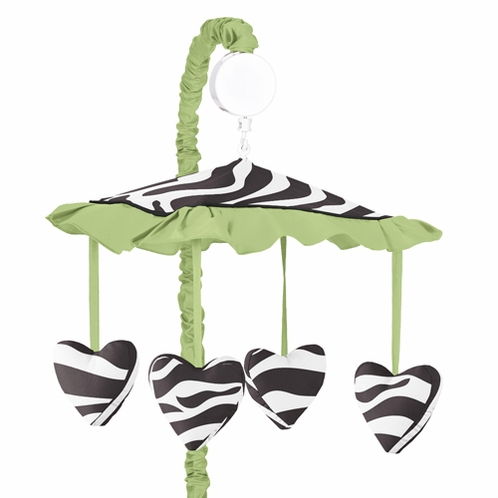 Lime Funky Zebra Musical Baby Girls Crib Mobile by Sweet Jojo Designs - Click to enlarge