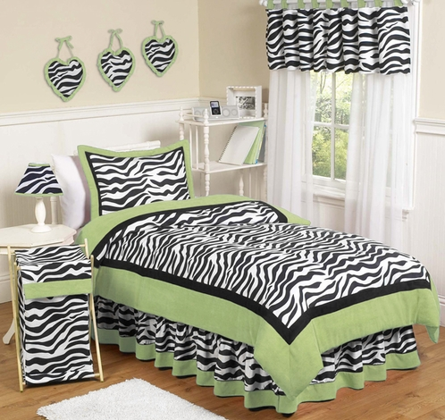 Lime Funky Zebra Childrens Bedding - 4 pc Twin Set - Click to enlarge