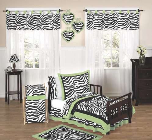 Lime Funky Zebra Toddler Bedding - 5pc Set - Click to enlarge