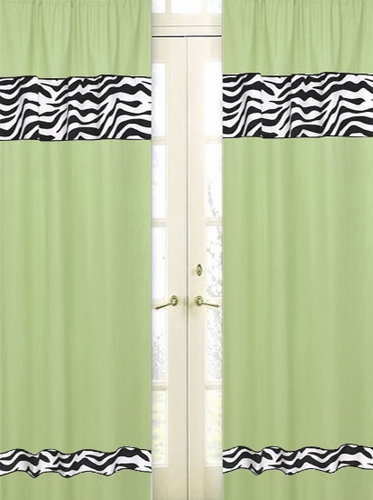 Lime Funky Zebra Zebra Window Treatment Panels - Set of 2 - Click to enlarge