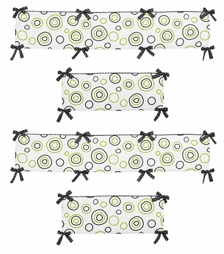 Lime Green and Black Spirodot Collection Crib Bumper by Sweet Jojo Designs - Click to enlarge