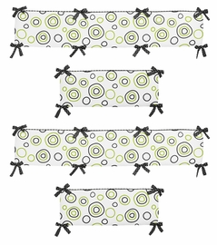 Lime Green and Black Spirodot Collection Crib Bumper by Sweet Jojo Designs