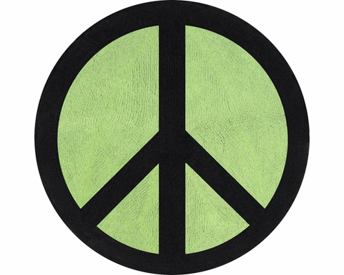 Lime Groovy Peace Sign Tie Dye Accent Floor Rug - Click to enlarge