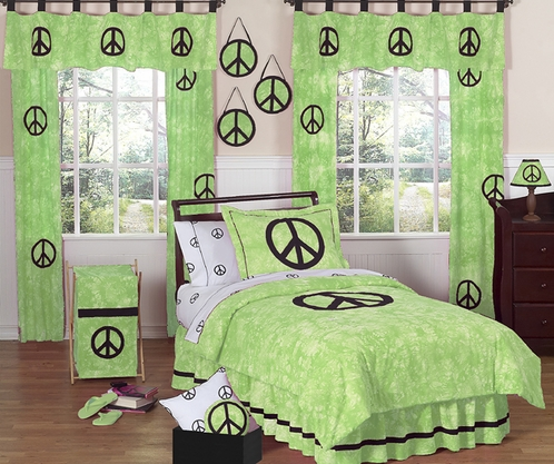 Lime Groovy Peace Sign Tie Dye Children's Bedding - 3 pc Full / Queen Set - Click to enlarge