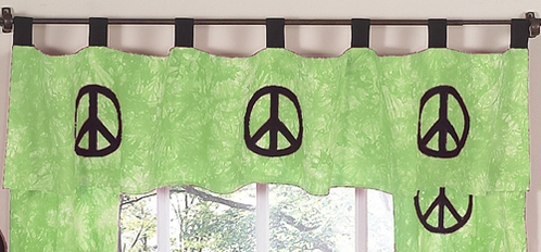 Lime Groovy Peace Sign Tie Dye Window Valance by Sweet Jojo Designs - Click to enlarge