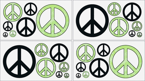 Lime Groovy Peace Sign Tie Dye Kids and Teens Wall Decal Stickers - Set of 4 Sheets - Click to enlarge