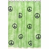 Lime Groovy Peace Sign Tie Dye Kids Bathroom Fabric Bath Shower Curtain