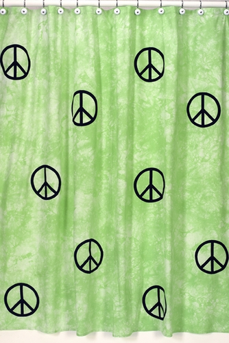 Lime Groovy Peace Sign Tie Dye Kids Bathroom Fabric Bath Shower Curtain    Click To Enlarge