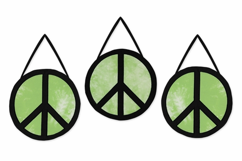 Lime Groovy Peace Sign Tie Dye Wall Hanging Accessories by Sweet Jojo Designs - Click to enlarge