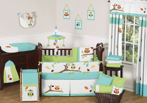 Turquoise and lime hooty owl baby bedding 9 pc crib set for Chambre a partager