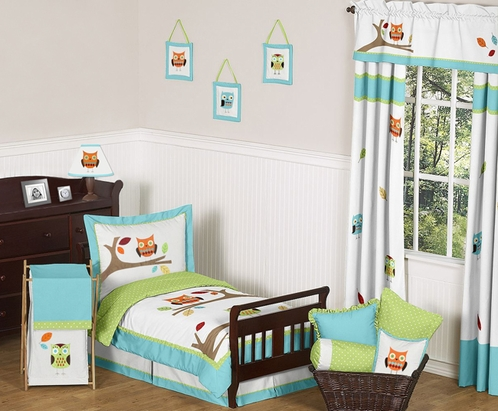 Turquoise and Lime Hooty Owl Toddler Bedding - 5pc Set by Sweet Jojo Designs - Click to enlarge