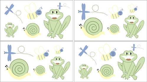 Little Froggy Baby and Kids Frog Wall Decal Stickers - Set of 4 Sheets - Click to enlarge