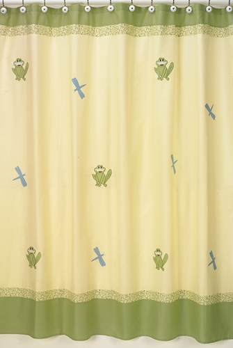 Little Froggy Kids Bathroom Fabric Bath Shower Curtain - Click to enlarge