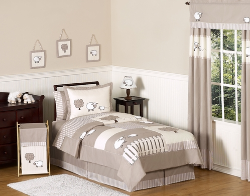 Little Lamb Children and Kids Bedding - 3pc Full / Queen Set by Sweet Jojo Designs - Click to enlarge