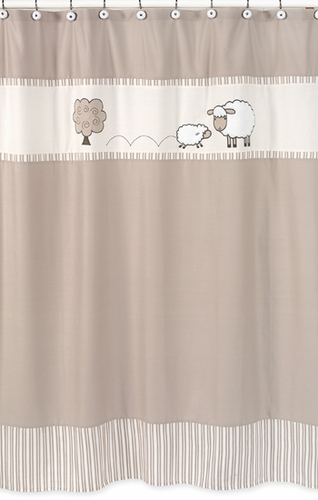 Little Lamb Kids Bathroom Fabric Bath Shower Curtain by Sweet Jojo Designs - Click to enlarge