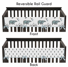 Long Front Crib Rail Guard Baby Teething Cover Protector Wrap for Bear Mountain Watercolor Collection by Sweet Jojo Designs