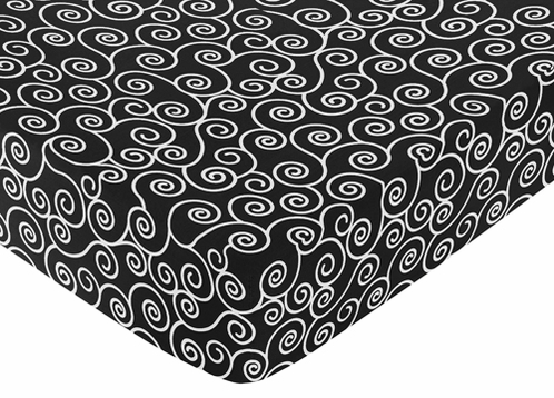Madison Fitted Crib Sheet for Baby/Toddler Bedding Sets - Scroll Print - Click to enlarge