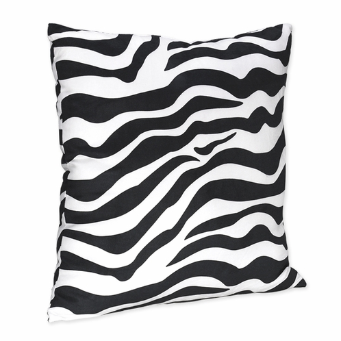 Microsuede Black and White Zebra Animal Print Accent  Pillow - Click to enlarge