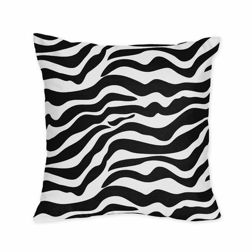 Microsuede Black and White Zebra Animal Print Decorative Accent Throw Pillow - Click to enlarge