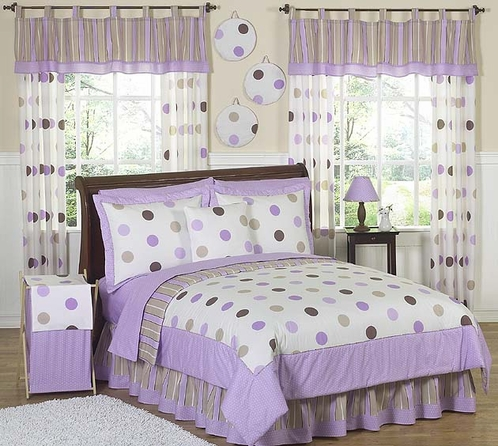 Purple and Brown Modern Dots Childrens  Bedding - 4 pc Twin Set - Click to enlarge