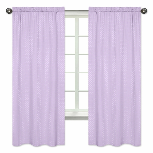Mini Lavender Polka Dot Window Treatment Panels for Purple and Brown Mod Dots Collection - Set of 2 - Click to enlarge