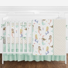Mint and White Watercolor Mermaid Baby Girl Crib Bedding Set with Bumper by Sweet Jojo Designs - 9 pieces