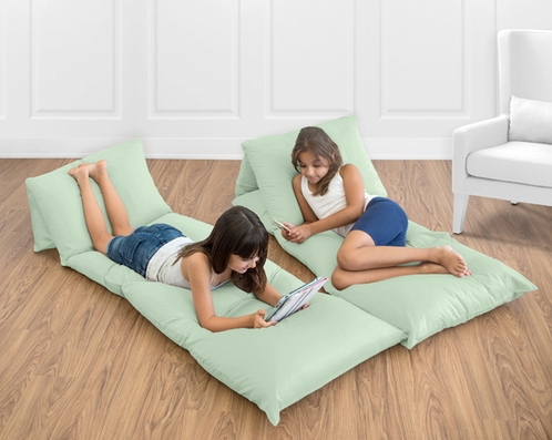 Mint Green Kids Teen Floor Pillow Case Lounger Cushion Cover by Sweet Jojo Designs - Click to enlarge