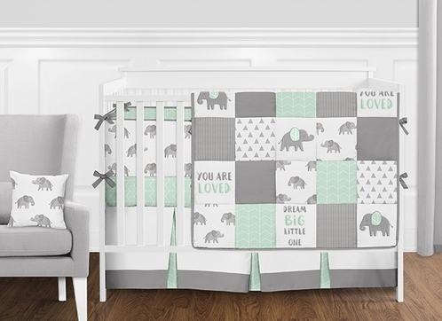 Mint, Grey and White Patchwork Gray Elephant Neutral Unisex Baby Boy or Girl Crib Bedding Set with Bumper by Sweet Jojo Designs - 9 pieces - Click to enlarge