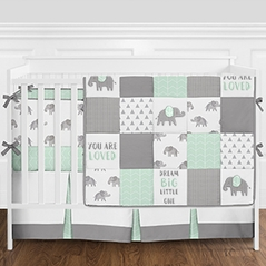 Mint, Grey and White Patchwork Gray Elephant Neutral Unisex Baby Boy or Girl Crib Bedding Set with Bumper by Sweet Jojo Designs - 9 pieces