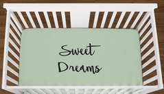 Mint Sweet Dreams Baby Boy Girl or Toddler Fitted Crib Sheet with Black Inspirational Quote by Sweet Jojo Designs