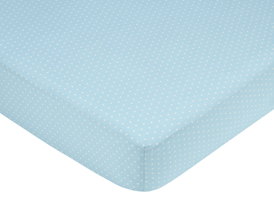 Mod Dots Blue and Brown Fitted Crib Sheet for Baby and Toddler Bedding Sets by Sweet Jojo Designs - Mini Dot - Click to enlarge