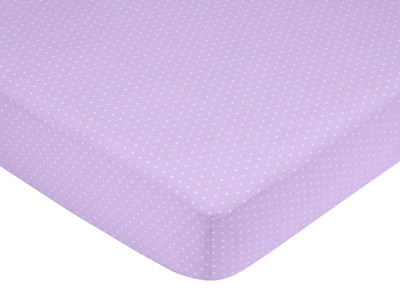 Mod Dots Purple and Brown Fitted Crib Sheet for Baby and Toddler Bedding Sets by Sweet Jojo Designs - Mini Dot - Click to enlarge