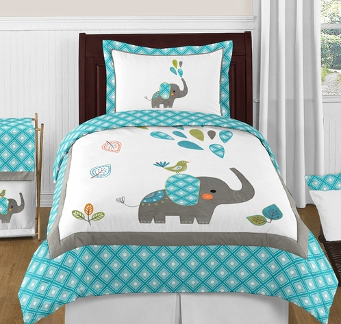 Mod Elephant 3pc Full / Queen Bedding Set by Sweet Jojo Designs - Click to enlarge