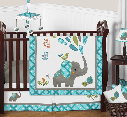 Mod Elephant Baby Bedding - 4pc Boy or Girl Crib Set by Sweet Jojo Designs - Click to enlarge
