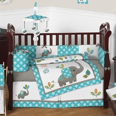 mod elephant baby bedding 9pc crib set by sweet jojo designs - Baby Bedding For Boys
