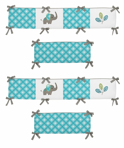 Mod Elephant Baby Crib Bumper Pad by Sweet Jojo Designs - Click to enlarge