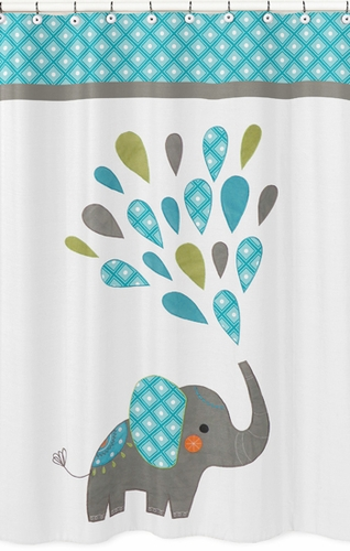 Mod Elephant Kids Bathroom Fabric Bath Shower Curtain by Sweet Jojo Designs - Click to enlarge