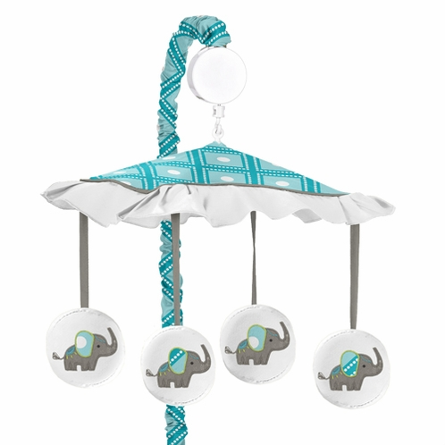 Mod Elephant Musical Baby Crib Mobile by Sweet Jojo Designs - Click to enlarge