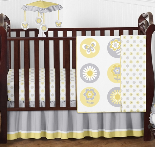 Mod Garden Baby Bedding - 4pc Crib Set by Sweet Jojo Designs - Click to enlarge