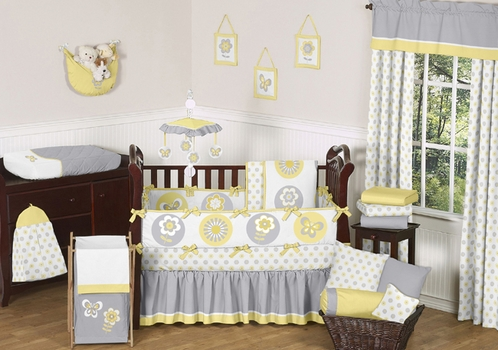 Mod Garden Baby Bedding - 9pc Crib Set by Sweet Jojo Designs - Click to enlarge